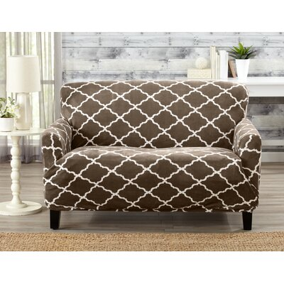 T-Cushion Loveseat Slipcover Color: Walnut Brown