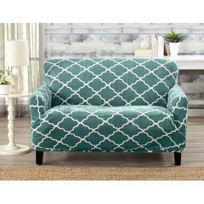 T-Cushion Loveseat Slipcover Color: Aqua