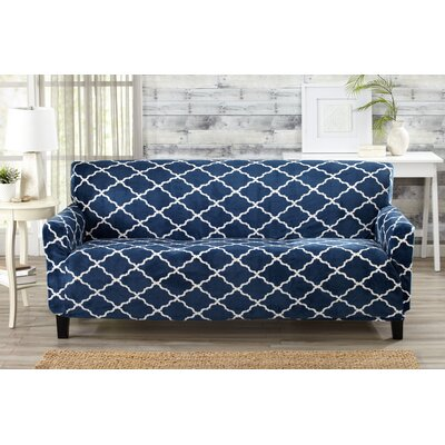 Box Cushion Sofa Slipcover Color: Navy