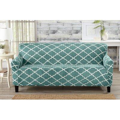 T-Cushion Sofa Slipcover Color: Aqua