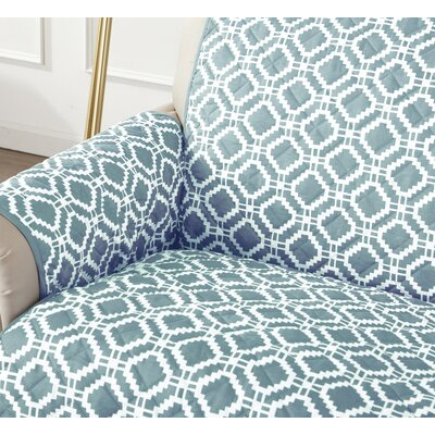 Box Cushion Sofa Slipcover Color: Blue Silver