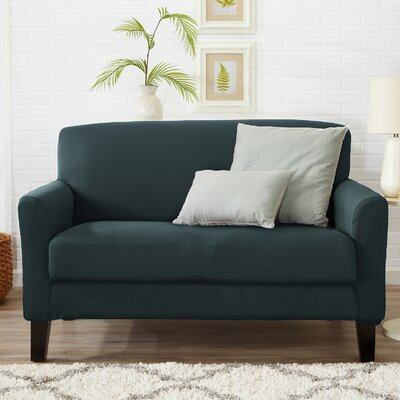 Box Cushion Loveseat Slipcover Color: Mirage Blue