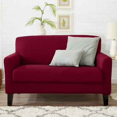 Box Cushion Loveseat Slipcover Color: Tawny Port Red