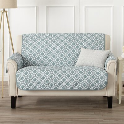 Box Cushion Loveseat Slipcover Color: Blue Silver