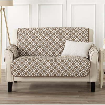 Box Cushion Loveseat Slipcover Color: Fossil Brown