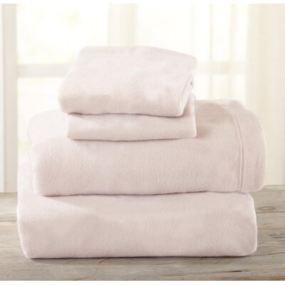 Everton Polar Fleece Solid Flannel Sheet Set Size: Full/Double, Color: Blush Pink