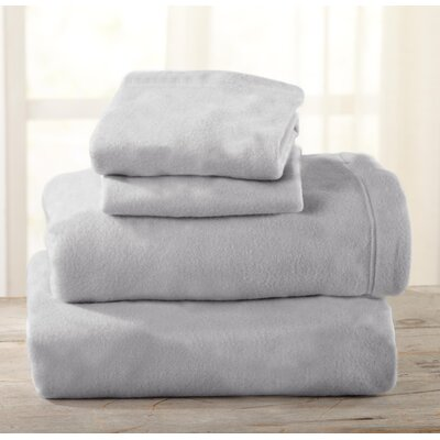 Everton Polar Fleece Solid Flannel Sheet Set Size: King, Color: Paloma Gray
