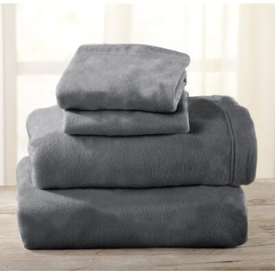 Everton Polar Fleece Solid Flannel Sheet Set Size: King, Color: Frost Gray