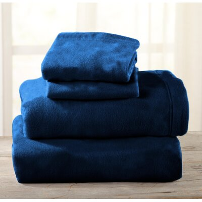 Everton Polar Fleece Solid Flannel Sheet Set Size: Full/Double, Color: Navy
