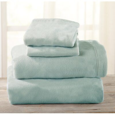 Everton Polar Fleece Solid Flannel Sheet Set Size: Full/Double, Color: Harbor Blue