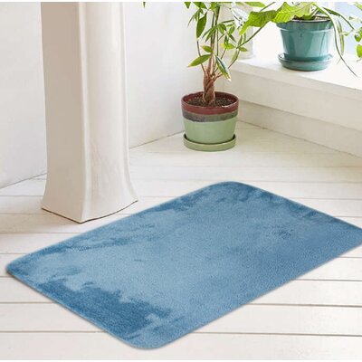 Bath Rug Size: 17 W x 24 L, Color: Dusty Turquoise