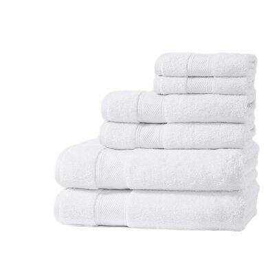 Santorini Luxury 100% Turkish Cotton 6 Piece Towel Set Color: White