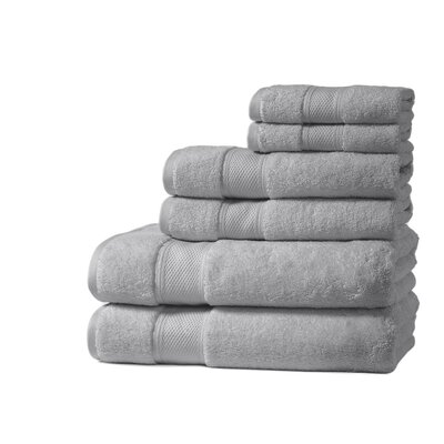 Santorini Luxury 100% Turkish Cotton 6 Piece Towel Set Color: Pewter