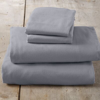 Peter Super Soft Solid Flannel Sheet Set Color: Frost Gray, Size: Queen