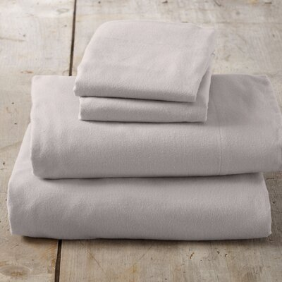Peter Super Soft Solid Flannel Sheet Set Color: Silver Cloud, Size: King