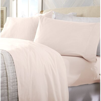 Peter Super Soft Solid Flannel Sheet Set Color: Blush Pink, Size: Queen