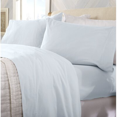 Peter Super Soft Solid Flannel Sheet Set Color: Pearl Blue, Size: Twin