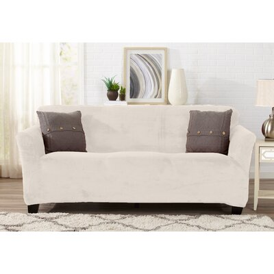 Velvet Plush Form Fit Stretch T-Cushion Sofa Slipcover Upholstery: Cappuccino