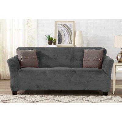 Velvet Plush Form Fit Stretch T-Cushion Sofa Slipcover Upholstery: Wild Dove Gray