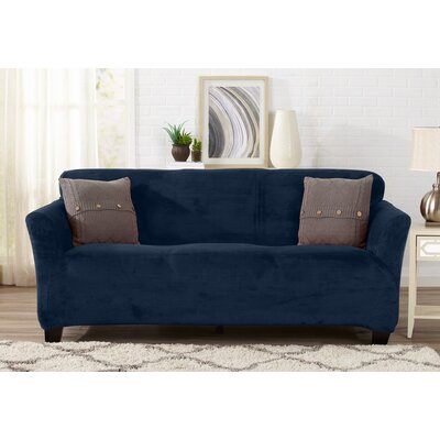 Velvet Plush Form Fit Stretch T-Cushion Sofa Slipcover Upholstery: Dark Denim Blue