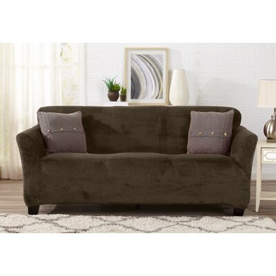 Velvet Plush Form Fit Stretch T-Cushion Sofa Slipcover Upholstery: Walnut Brown