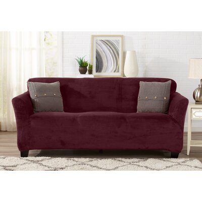 Velvet Plush Form Fit Stretch T-Cushion Sofa Slipcover Upholstery: Zinfandel Red