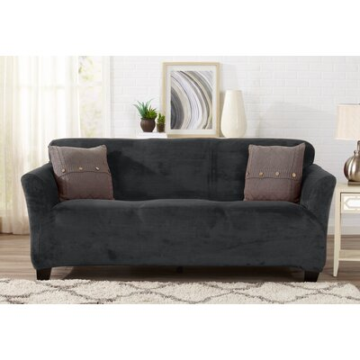 Velvet Plush Form Fit Stretch T-Cushion Sofa Slipcover Upholstery: Dark Gray
