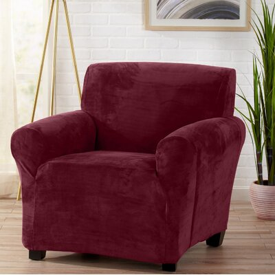 Velvet Plush Form Fit Stretch T-Cushion Armchair Slipcover Upholstery: Zinfandel Red