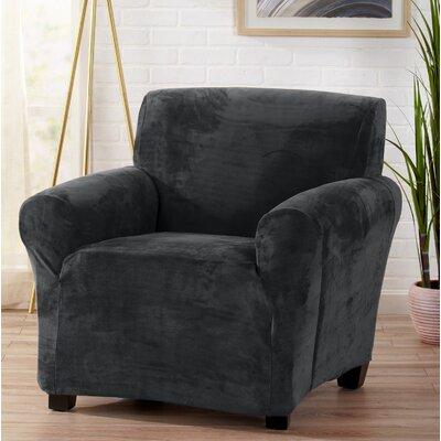 Velvet Plush Form Fit Stretch T-Cushion Armchair Slipcover Upholstery: Dark Gray
