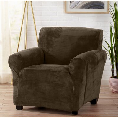 Velvet Plush Form Fit Stretch T-Cushion Armchair Slipcover Upholstery: Walnut Brown
