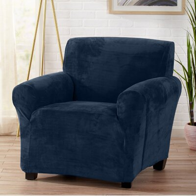 Velvet Plush Form Fit Stretch T-Cushion Armchair Slipcover Upholstery: Dark Denim Blue