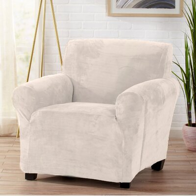 Velvet Plush Form Fit Stretch T-Cushion Armchair Slipcover Upholstery: Cappuccino