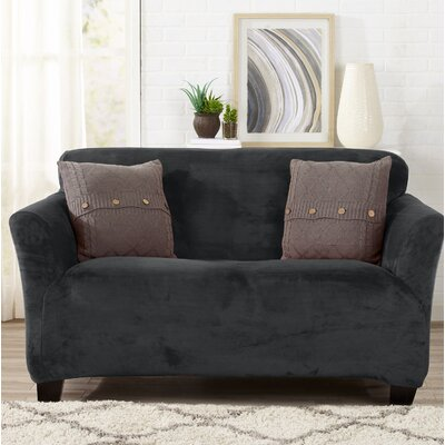 Velvet Plush Form Fit Stretch T-Cushion Loveseat Slipcover Upholstery: Dark Gray
