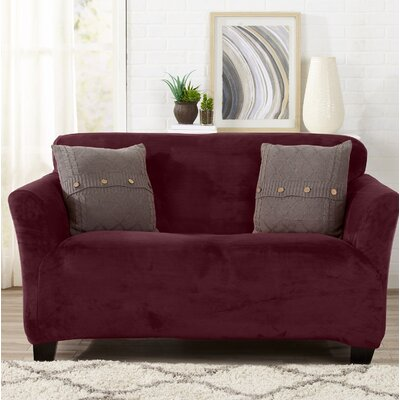 Velvet Plush Form Fit Stretch T-Cushion Loveseat Slipcover Upholstery: Zinfandel Red