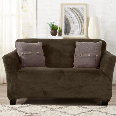 Velvet Plush Form Fit Stretch T-Cushion Loveseat Slipcover Upholstery: Walnut Brown