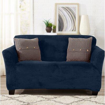 Velvet Plush Form Fit Stretch T-Cushion Loveseat Slipcover Upholstery: Dark Denim Blue