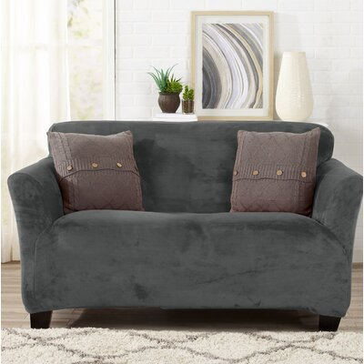 Velvet Plush Form Fit Stretch T-Cushion Loveseat Slipcover Upholstery: Wild Dove Gray