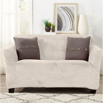 Velvet Plush Form Fit Stretch T-Cushion Loveseat Slipcover Upholstery: Cappuccino