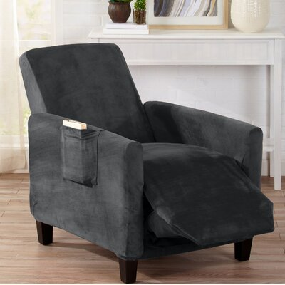 Velvet Plush Form Fit Stretch T-Cushion Recliner Slipcover Upholstery: Dark Gray