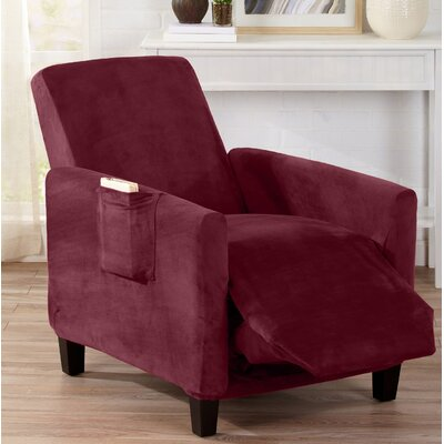 Velvet Plush Form Fit Stretch T-Cushion Recliner Slipcover Upholstery: Zinfandel Red