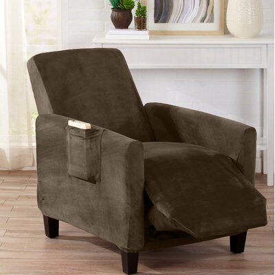 Velvet Plush Form Fit Stretch T-Cushion Recliner Slipcover Upholstery: Walnut Brown