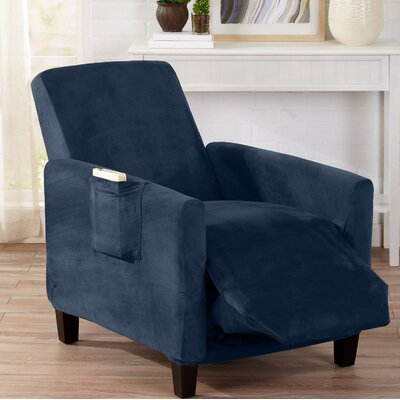 Velvet Plush Form Fit Stretch T-Cushion Recliner Slipcover Upholstery: Dark Denim Blue
