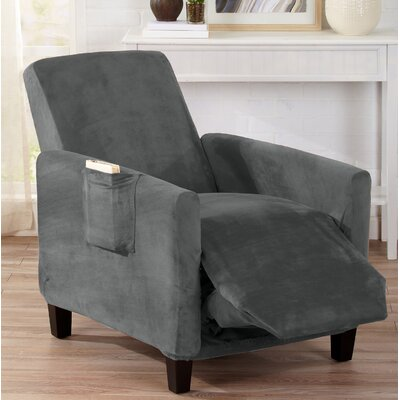 Velvet Plush Form Fit Stretch T-Cushion Recliner Slipcover Upholstery: Wild Dove Gray