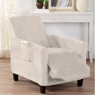 Velvet Plush Form Fit Stretch T-Cushion Recliner Slipcover Upholstery: Cappuccino