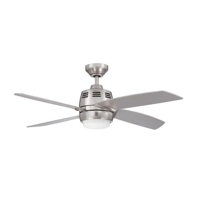 44 Ventura 2 4-Blade Ceiling Fan with Wall Remote Finish: Satin Nickel with Silver Blades