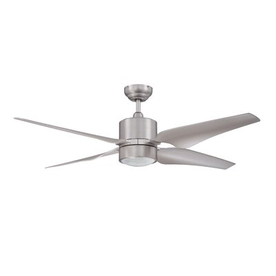 52 Nexor 4-Blade Ceiling Fan with Wall Remote Finish: Satin Nickel with Silver Blades