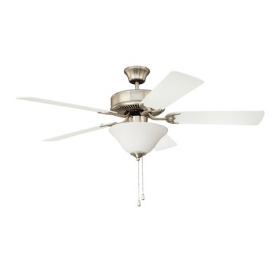 52 Builders Choice 5-Blade Ceiling Fan Finish: Satin Nickel with Silver / White Switch Blades