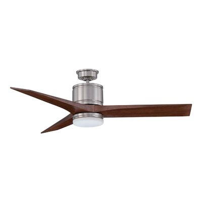52 Woodstock 3-Blade Ceiling Fan with Wall Remote Motor Finish: Satin Nickel