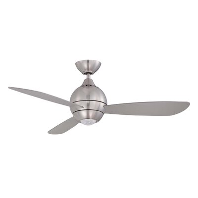 44 Sphere 2 3-Blade Ceiling Fan with Wall Remote Finish: Satin Nickel with Silver Blades