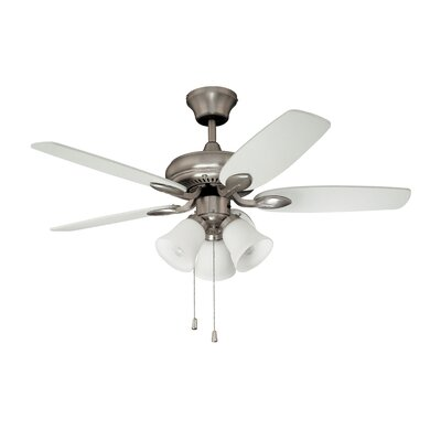 42 Cordova 5-Blade Ceiling Fan Finish: Satin Nickel with Maple / White Blades